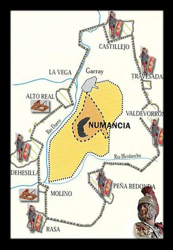 Mapa de la muralla de Numancia