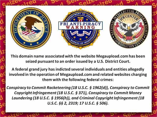 Imagen que aparece en el sitio web Megaupload